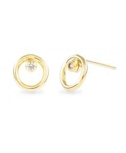 Boucles d'Oreilles Or avec Cristal de Swarovski Blanc Les Partisanes Femme MP00000555