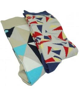 2 paires de chaussettes à motifs géométriques Sockin Coffrets  MP00000593