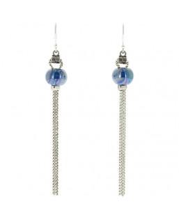 Boucles d'oreille Pompons bleu cobalt Baïn Création Bijoux MP00000076