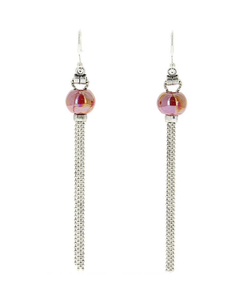 Boucles d'oreille Pompons rouge Baïn Création Bijoux MP00000077