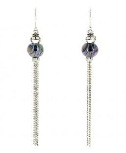 Boucles d'oreille Pompons Bleu Vert Baïn Création Bijoux MP00000078