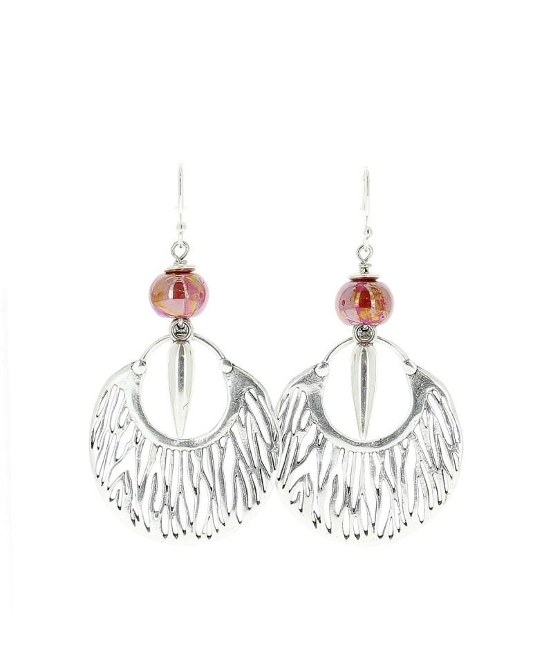 Boucles d'oreille savane rouge Baïn Création Bijoux MP00000081