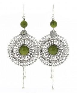 Boucles d'oreille Bohème vert bronze Baïn Création Bijoux MP00000090