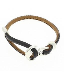 Bracelet ancre cuir noir/camel Bô-bijoux Bijoux MP00000105