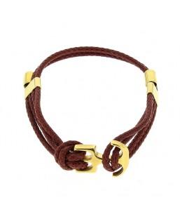 Bracelet double ancre dorée acajou Baïn Création Bijoux MP00000113