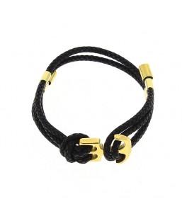 Bracelet double ancre dorée noir Baïn Création Bijoux MP00000115