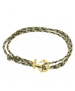 Bracelet ancre dorée double cordage noir Baïn Création Bijoux MP00000116