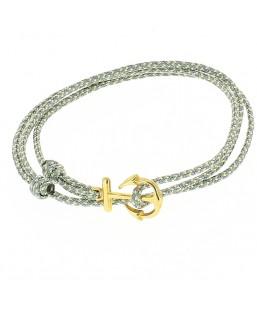 Bracelet ancre dorée double cordage gris Baïn Création Bijoux MP00000117