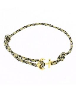Bracelet ancre dorée cordage noir Baïn Création Bijoux MP00000118