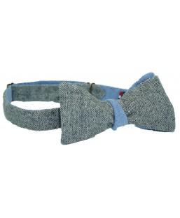 Noeud papillon Tweed gris et bleu Le Flageolet Homme