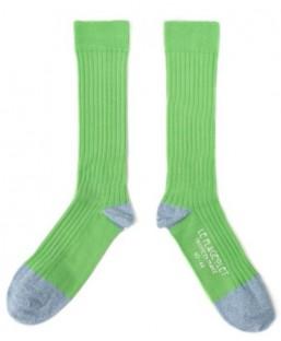 chaussettes côtelées unies vertes Le Flageolet Chaussettes MP00000181