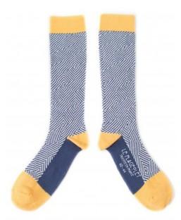 chaussettes graphiques jaunes Le Flageolet Chaussettes MP00000186