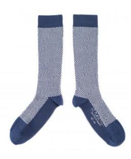 chaussettes graphiques bleu-marine Le Flageolet Chaussettes MP00000188