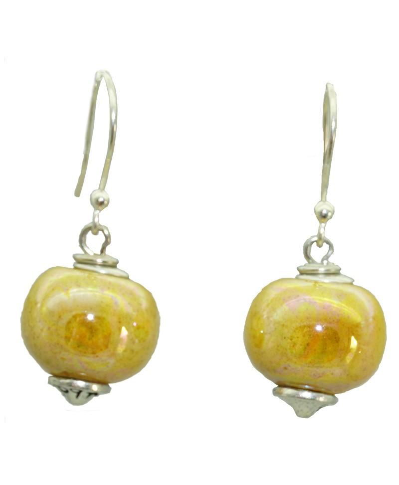Boucles d'oreille perle céramique jaune Baïn Création Bijoux MP00000095