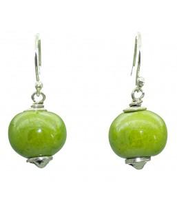 Boucles d'oreille perle céramique verte Baïn Création Bijoux MP00000094
