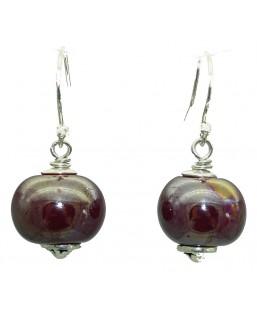 Boucles d'oreille perle céramique bordeaux Baïn Création Bijoux MP00000096