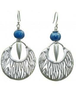 Boucles d'oreille savane bleu cobalt Baïn Création Bijoux MP00000082