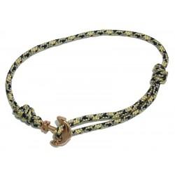 Bracelet ancre or-rosé cordage noir-camel Baïn Création Bijoux MP00000121