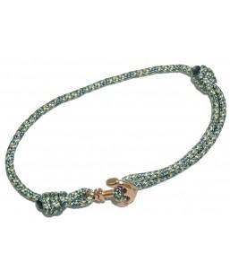 Bracelet ancre or-rosé cordage gris-bleu Baïn Création Bijoux MP00000120