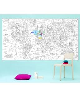 Poster XXL Atlas à colorier Omy Maison