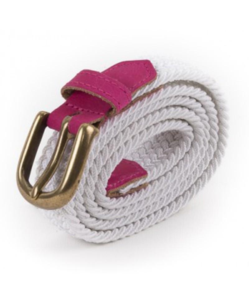 f0dab6742cc ceinture tressée blanche et rose Vertical l Accessoire Femme MP00000224