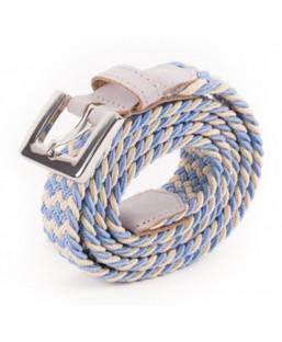ceinture tressée bleu,beige Vertical l'Accessoire Femme